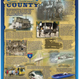 Poster for Polk County, Florida school system. Front side of poster depicts the history of transportation in Polk County.