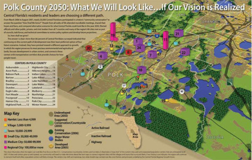 I created this illustration to show what Polk County, Florida will look like in 2050 if a cooperative vision is realized by regional leaders and residents.
