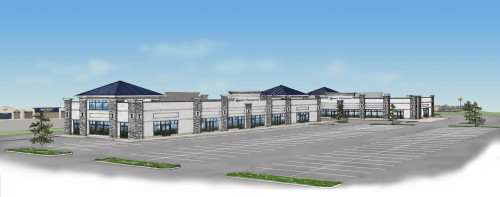 Pen and Ink with digital Color of Retail Center. Planning and Zoning Rendering