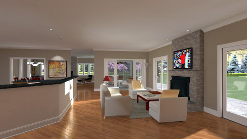 3D Rendering: New home plan - family room view
