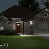 3D Rendering: Landscaped exterior - night view with lighting