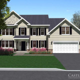 3D Rendering: New home plan - exterior view with landscaping