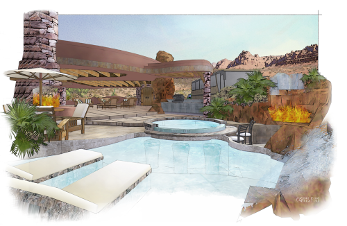 Digital Watercolor Residential Illustration