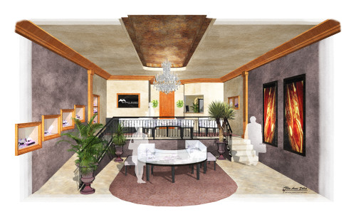 Digital Watercolor Interior Rendering