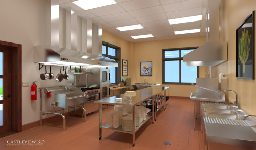 3D Rendering: Gourmet/Catering Kitchen in country club clubhouse